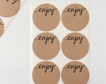 2 inch kraft circle stickers - enjoy