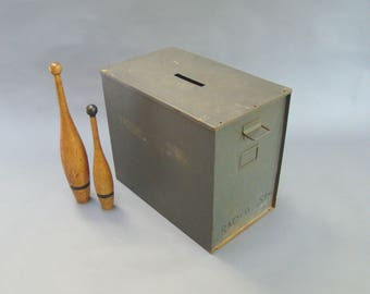 Vintage Ballot Box; Metal ballot box; Large storage box; Industrial storage; Industrial decor; Vintage Storage; 1 & Large metal box | Etsy