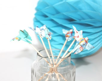 6 mini brochettes en bois origami papillons bleus