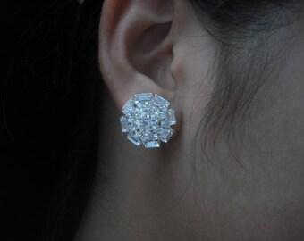 Adury Collection, Bridal Earrings, Rhinestone Crystal earrings, Vintage Style Bridal Earrings, Weddng Jewelry