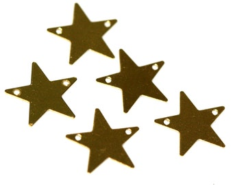 80 Pcs Raw Brass Star 15 mm Charms ,Findings 626R-30
