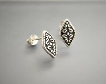 Silver Stud Boho Earrings, Black and Silver Earrings, Stud Earring, Bohemian Earrings, Sterling Silver, Everyday Earrings, Sterling Earrings