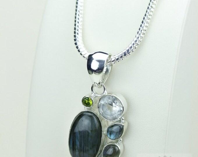 Labradorite Clear Topaz Peridot 925 S0LID Sterling Silver Pendant + 4mm Snake Chain & Free Worldwide Shipping p3435