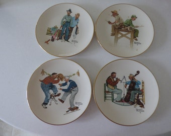 Set of Norman Rockwell Four Seasons Collectors Plates - 1981
