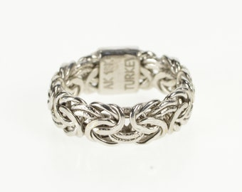 18K Byzantine Link Pressed Chain Band Ring Size 4 White Gold