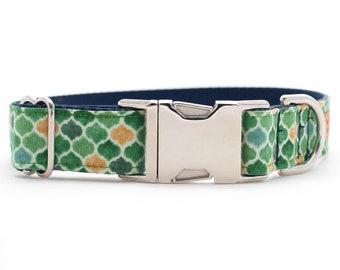 Watercolor Dog Collar - Green Dog Collar - Chain Martingale Collar - Silver Buckle Dog Collar - Metallic Dog Collar - Nylon Dog Collar