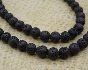 20 6mm round beads natural black lava stone