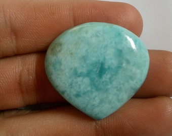 100% Natural,  53.45 Ct Sky Blue Larimar Heart Shape 29x32x7 mm Size,Smooth Loose Cabochon, AAA Quality Larimar  Loose Gemstone 1360