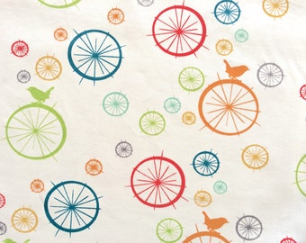 BIRCH ORGANIC Fabric, Birdie Spokes Multi, Just for Fun Collection, Certified Organic Cotton, Quilting Weight