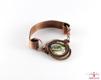Handmade Copper Bracelet With Copper Cuff & Glass Bead
