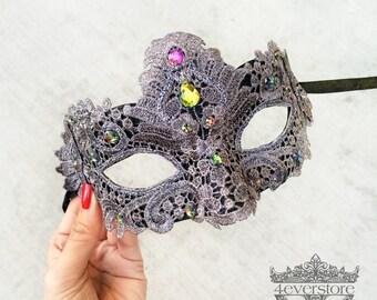 Lace Mask, Metallic Earl Grey Lace Masquerade Mask, Masquerade Ball Mask, Lace Masquerade Mask [Iridescent Gems on Grey Mask]