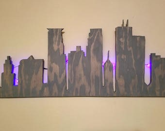 """Minneapolis Skyline Cut Out 32"""" wide X 12"""" tall"""