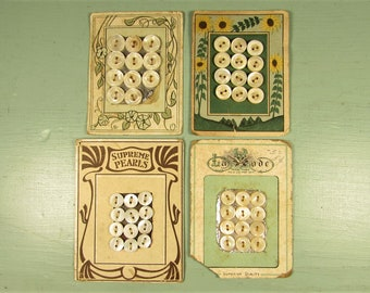 MOP Sewing Buttons - Vintage Original Green Brown Floral Sales Card