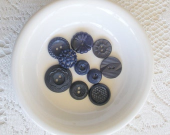 Ten Dark Blue Vintage Buttons