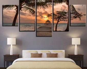 Brilliant Palm Tree Wooden Bridge Sunset 5 Panel Set
