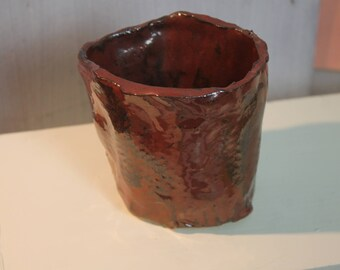 Deep red basket tea bowl