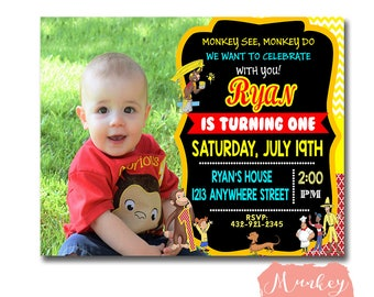 CURIOUS GEORGE PARTY Printables, Curious George Photo Invitation, Curious George Birthday Invitation Photo, Curious George Photo Invite