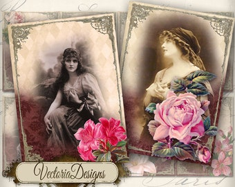 Gypsy Women ATC vintage images digital background instant download printable collage sheet VD0077