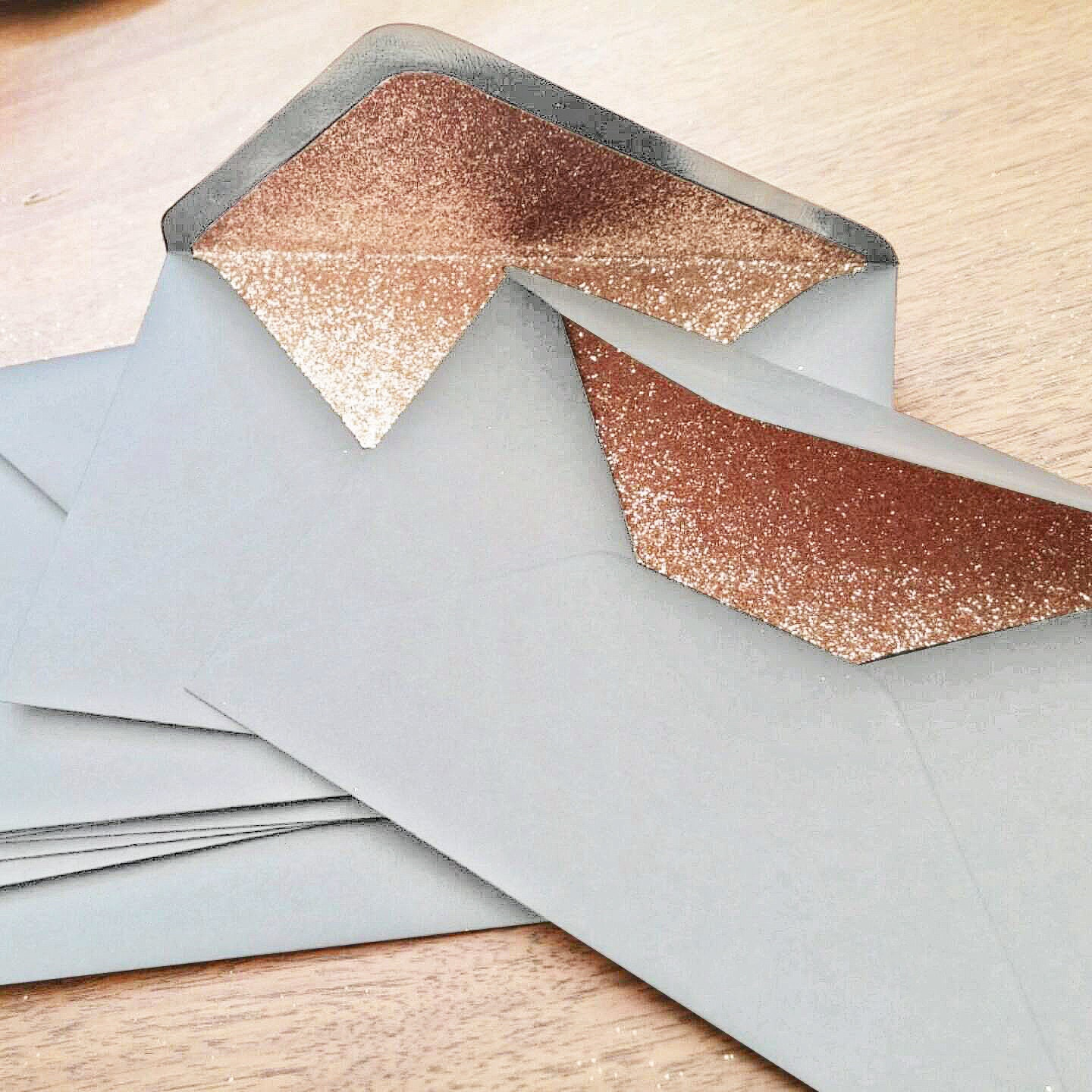 Dove Grey and Rose Gold Glitter Lined Wedding Envelopes 10 in
