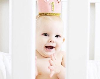 Baby Girl First Birthday Hat | First Birthday Crown | 1st Birthday Girl Outfit | Felt Birthday Crown | First Birthday Girl | Blush Gold