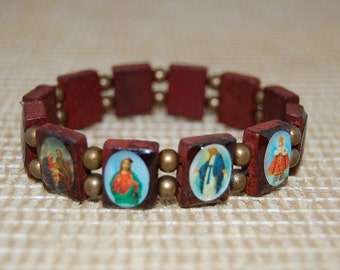 Saints Bracelet,Catholic Christian Bracelet,Wood Bracelet,Jesus,Mary,Angels Saints Wood Beads,Bronze Beads,Man,Woman,Stretch