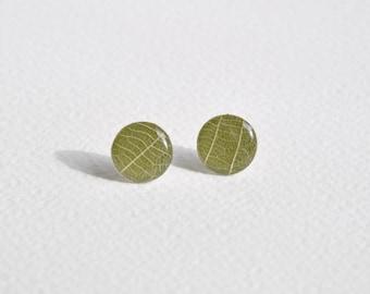 Skeleton Leaf and Paper Earring studs - Medium