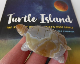 Turtle Island Totem ~ Carved Agate Turtle