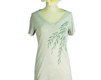 Willow Leaves Silver Grey Screen Printed Womens Burnout V-Neck T-Shirt, Tunic, Limited Stock, Eco Friendly - Gifts for Her