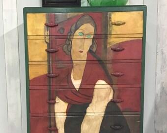 Hand painted dresser, italian art, chest of drawers, six drawers, painted tallboy, highboy, dresser, vintage dresser