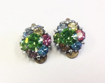 Mid century, 1940s, multicoloured paste, rhinestone, clip on earrings.