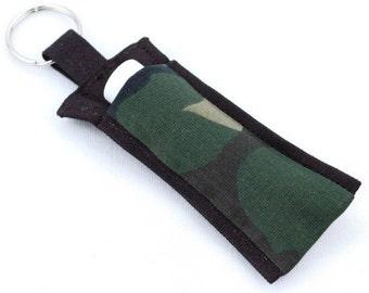 Chapstick Holder Keychain, Lip Balm Holder, Chapstick Holder, Lip Balm Keychain, Lip Balm Case, Camouflage Pattern, Camo, Lip Balm Cozy
