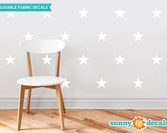 Stars Fabric Wall Decals  - Set of 30 Stars - Custom Color Options Available - Star Pattern Decor - Reusable, Repositionable