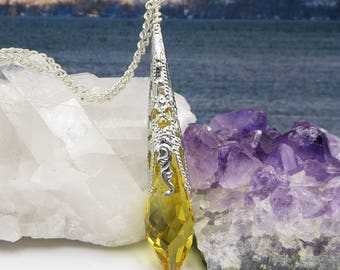 Yellow Crystal Necklace, Long Silver Jewelry, Bohemian Pendulum, Layering Necklace, Mystical Ladies Jewellery, Pretty Womens Necklace