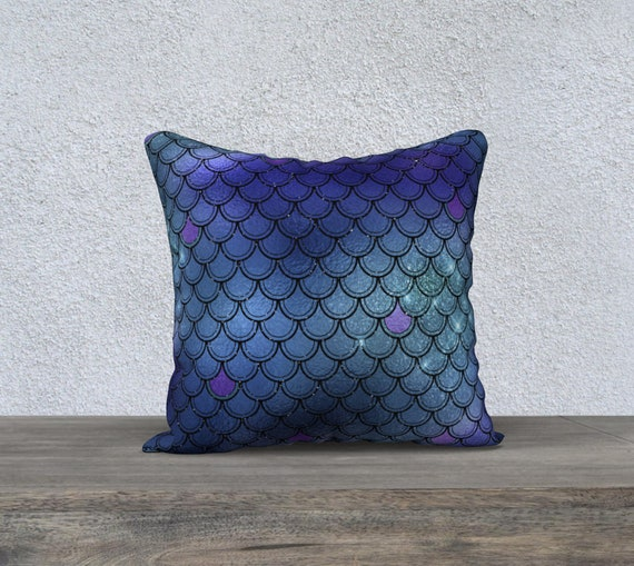 blue and green mermaid scales velvet pillow cover