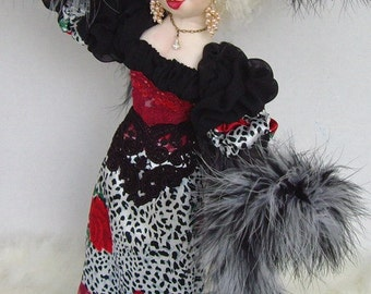 "Art Doll Veronica Big Hat Lady 18"" OOAK Cloth Doll By Caroline Erbsland Signed"