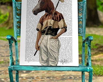Portrait Polo Horse Print, Art Illustration Giclee Print Acrylic Painting Wall Art Wall Decor Wall Hanging Horse picture Polo Pony