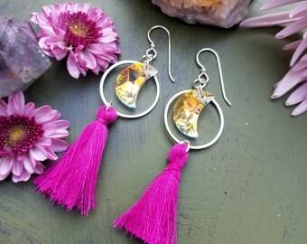 Swarovski Crystal Moon Earrings, Fuschia Tassels, Cotton, Silver, Lightweight Small Hoop Earrings