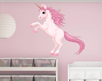 Pretty Pink Unicorn Wall Decal Sticker - Girl's Room Wall Sticker, kid's room vinyl wall art
