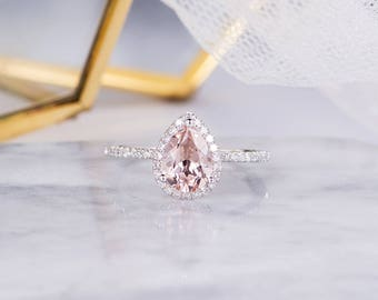 Morganite Engagement Ring White Gold Pear Shaped Halo Diamond Women Bridal Wedding Antique Ring Half Eternity Anniversary Gift For Her