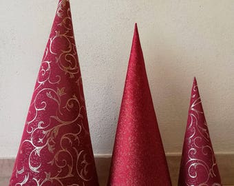 Tris of red Christmas trees