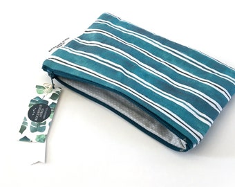 Pencil Case in 'TURQUOISE STRIPE Watercolor'
