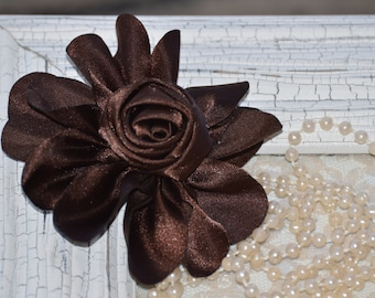 """Satin Fabric Roses, Rolled Rosettes, Brown Satin Rolled Rosettes, 3"""" Satin Roses, Rolled Roses, Rolled Satin Roses, A9"""