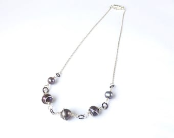 Spiral Wrapped Freshwater Pearl Necklace in Recycled Sterling Silver