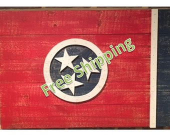 Rustic Tennessee Flag Constructed From Reclaimed/Repurposed Wood (Free Shipping)