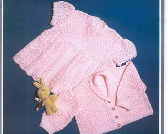 BABY KNITTING PATTERN - Baby Dress and Jacket/Sweater/Cardigan Birth to 12 months