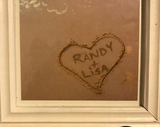Name in the Sand Picture, Handpainted, A new twist on Home Decor, Heartwarming Wedding Gift, Engagement, Anniversary Gift or Just Because