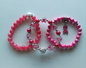 Breast Cancer Awarness Bracelet Set with Pink Pearls-Fashion Beaded Stretch Bracelet  (94)