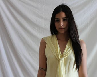 Pale Yellow Linen Long Dress with Attached Sheer Silk Scarf