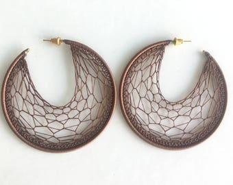 "Crochet hoops 2 1/2"" in Brown"