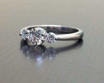 Platinum Diamond Engagement Ring - Diamond Platinum Wedding Ring - Three Stone Diamond Ring - Platinum Ring - Modern Diamond Ring - Bridal